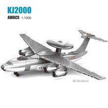 200+PCS KJ-2000 Military AWACS Airplane Morden Army War craft WW2 Plane DIY 3D Models Educational Building Blocks Toys For Boys