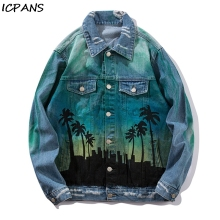 ICPANS 2019 Distressed Denim Jacket Autumn Wintrer Vintage Denim Bomber Jacket Ripped Holes Men Hip Hop Jeans Jacket Streetwear hooded wing embroidery distressed denim jacket