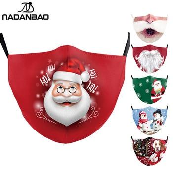NADANBAO 2020 Santa beard Mask Print Kids Face Cover Adult Cosplay Christmas Party Masks Washable Cute Fashion Snow Mask