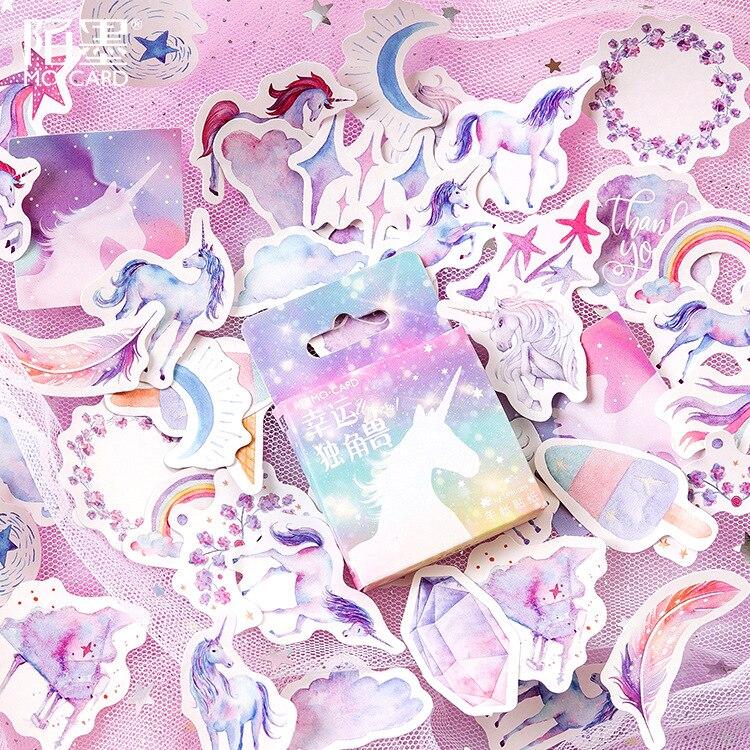 Mohamm 46 шт. наклейка в коробке счастливый Единорог ручной аккаунт декоративная самодельная наклейка универсальная Уплотнительная наклейка