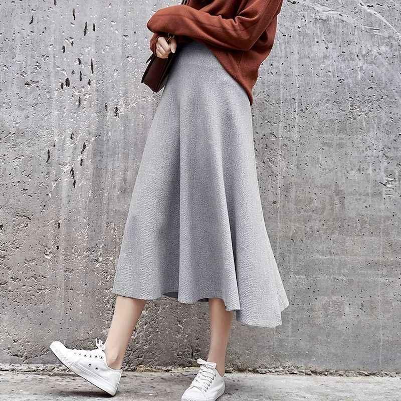 Herbst neue ein wort rock rock lange plissee rock weiblichen studenten Koreanische version der hohe taille gestrickte pullover