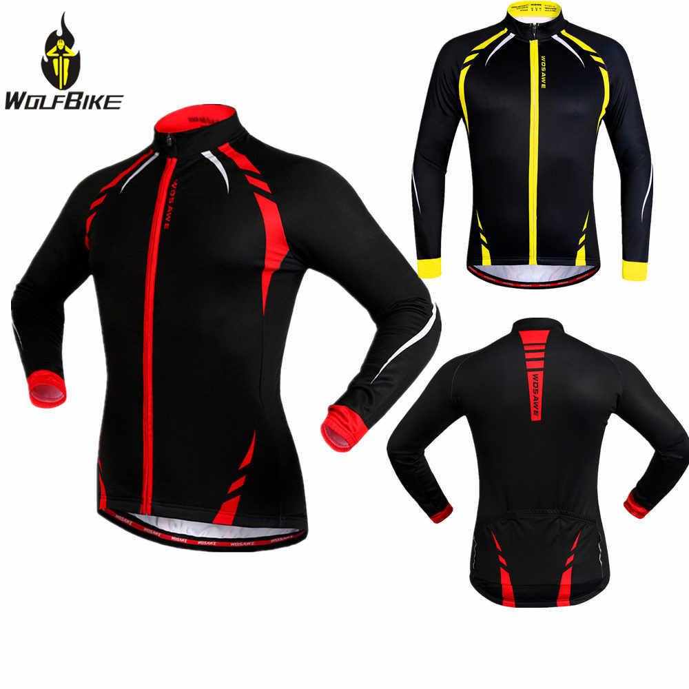 を Wolfbike 男性の冬サイクリングジャケット防風バイクジャージ自転車コート服長袖スポーツウェア
