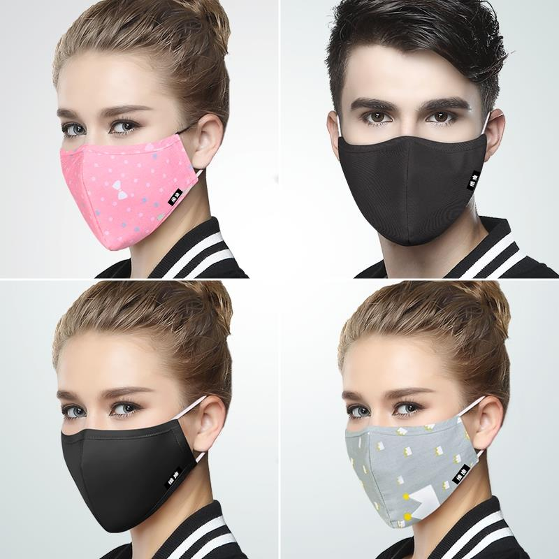 Kpop Cotton Black Mask Mouth Face Mask Anti PM2.5 Dust Mouth Mask With 6pcs Activated Carbon Filter Korean Mask Fabric Face Mask