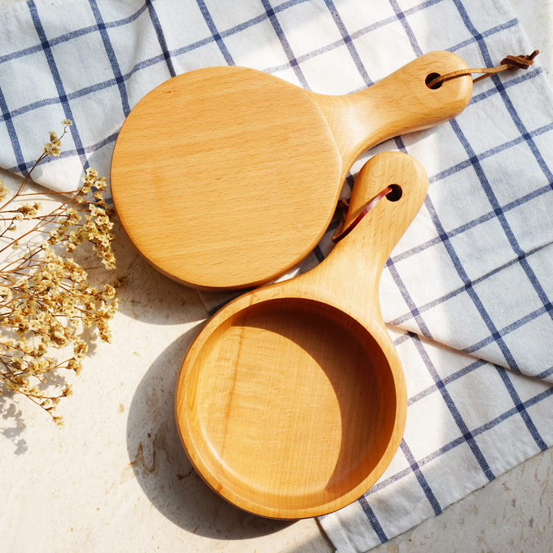 Japanese Style Long Handled Wooden Salad Bowl Wood Large Fruit Pickles Serving Bowl Plate Food Container Kitchen Wooden Utensils (10)