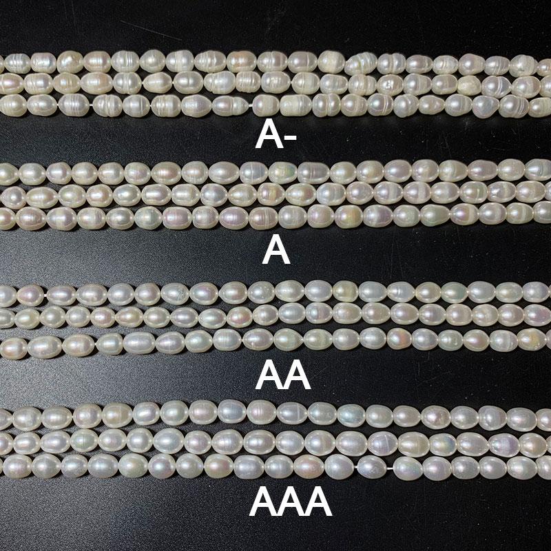 Perlas de agua dulce naturales, cuentas con forma de arroz para fabricación de joyería DIY, collar de pulsera de 4/5/6/8/9/10 MM, blanco, rosa, Morado, A/AA/AAA