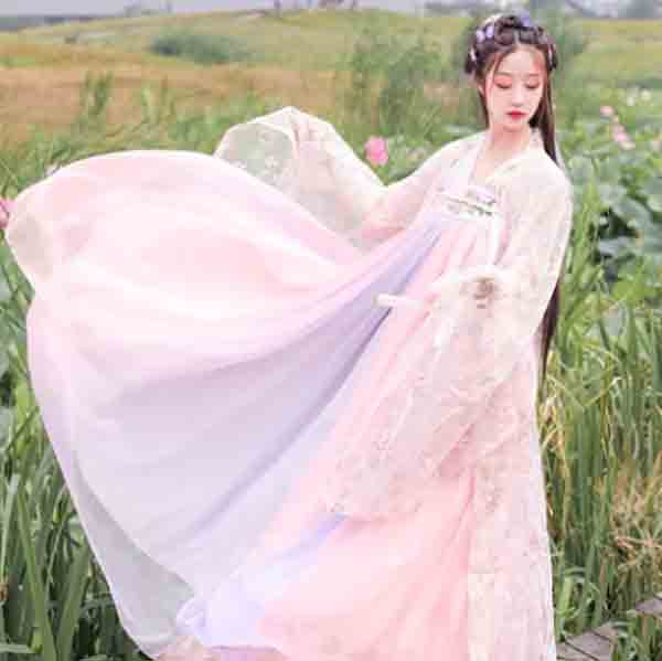 Women Hanfu Chinese Ancient Tradition Vintage Hanfu Pink Dress Fantasia Female Carnival Cosplay Costume For Lady Plus Size XL