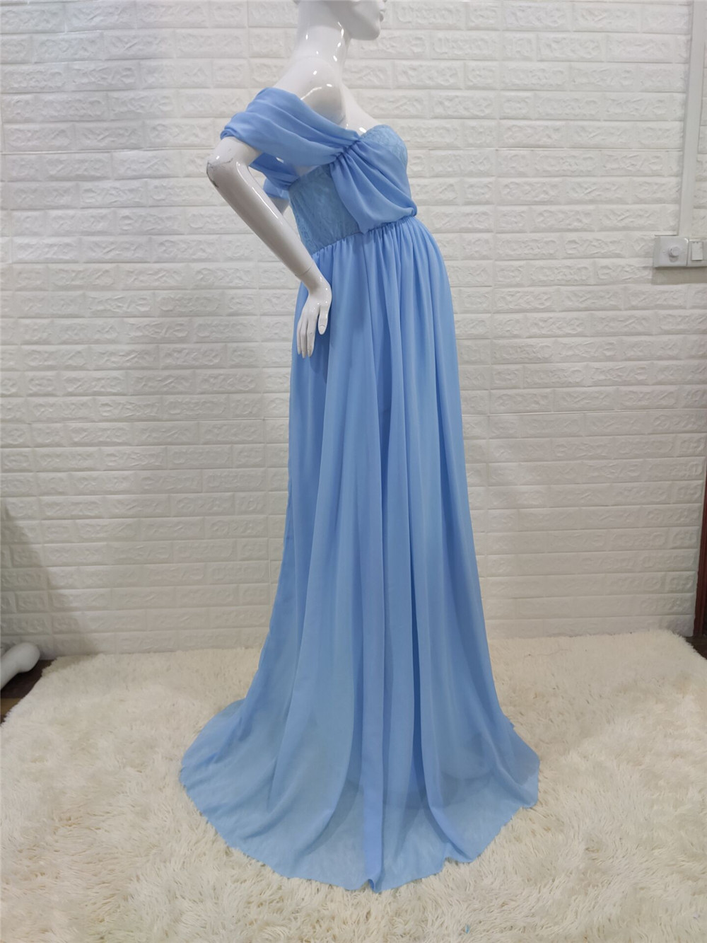 Shoulderless Sexy Maternity Dress Photo Shoot Long Pregnancy Dresses Photography Props Lace Chiffon Maxi Gown For Pregnant Women (17)