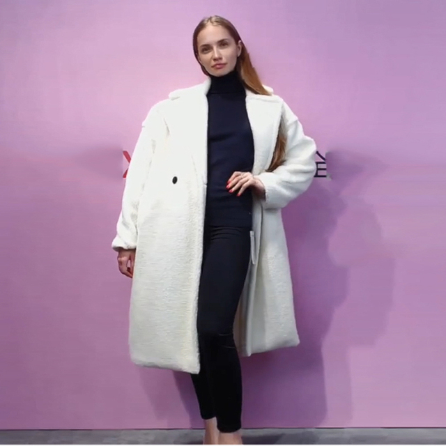 Autumn Winter Women Beige Teddy Coat Stylish Female Thick Warm Cashmere Jacket Casual Girls Streetwear 3