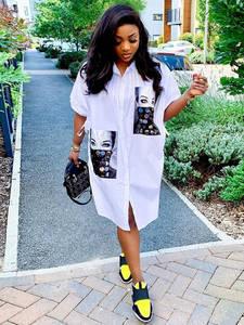 Streetwear Dress Collar Button White Shirt Character Loose Autumn Casual Half-Sleeve