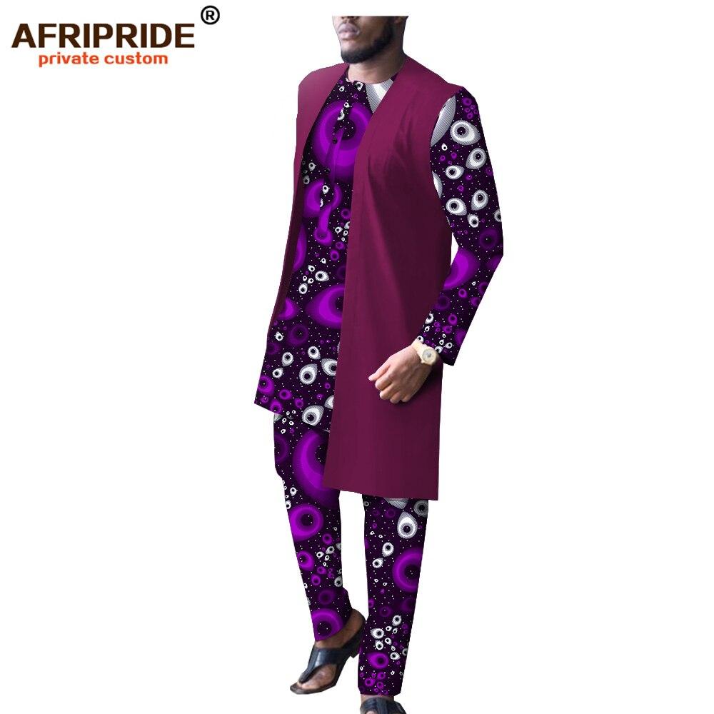 Дашики Мужская африканская одежда Длинные куртки принт рубашки и брюки набор Повседневный Спортивный костюм восковой наряд Базен Riche A1916009B - 2