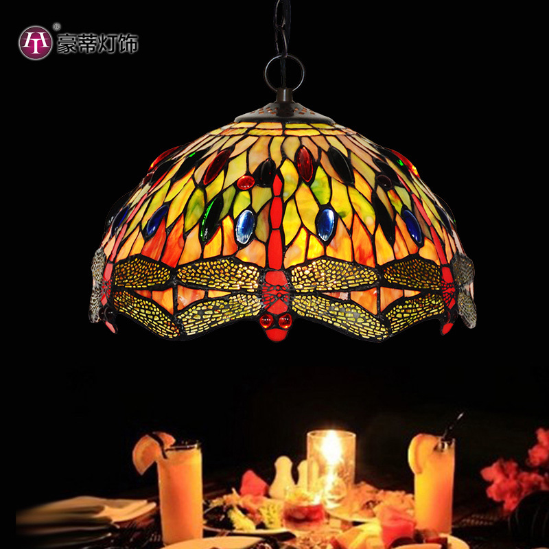 "Manufacturers selling 12 ""tiffany stained glass lamp droplight restaurant cafe bar decoration dragonfly lights"