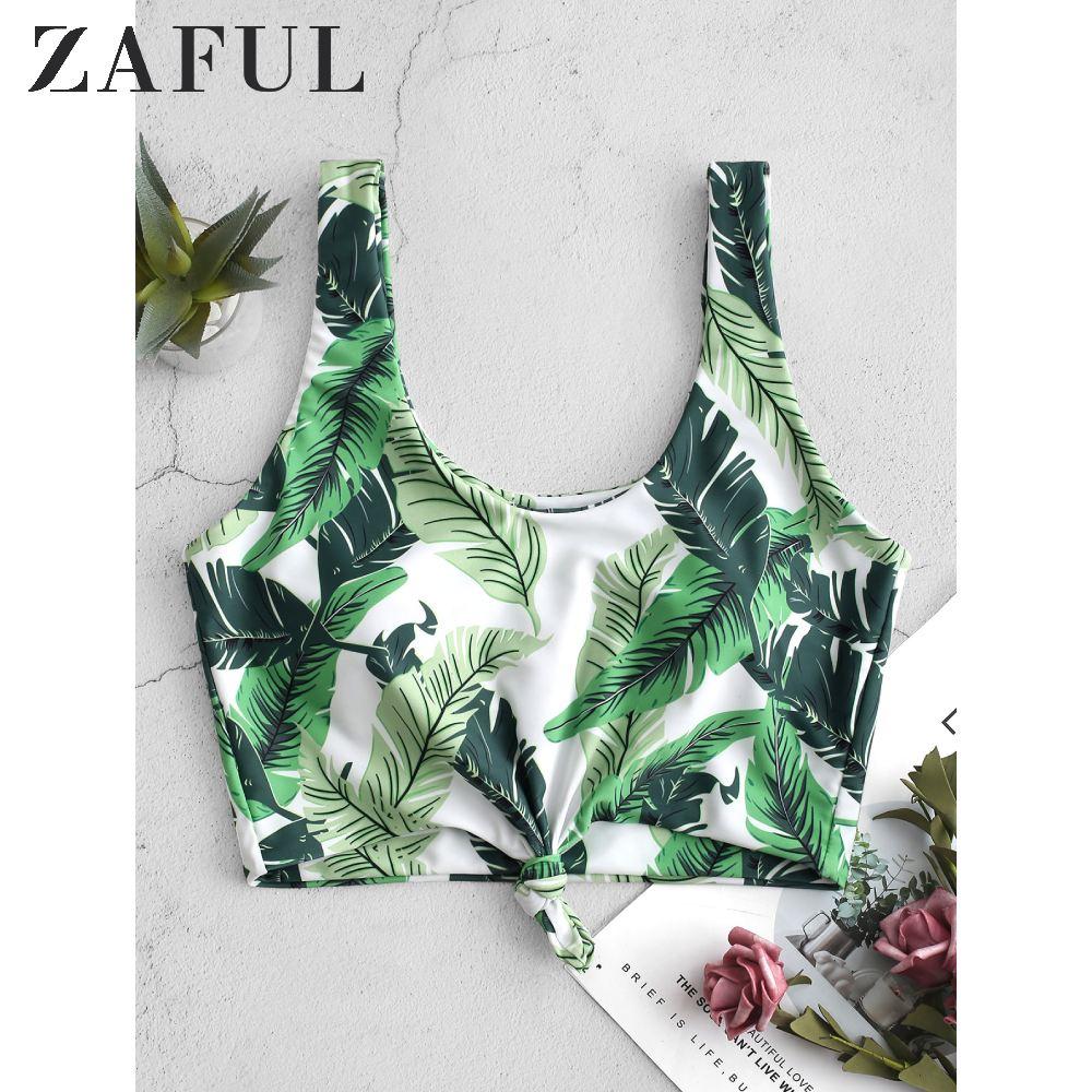 ZAFUL Palm Leaf Knot Cropped Bikini Top U Neck Tropical Bikini Top Elastic Swimsuit Top 2020 Removable Padded Bathing Suit Top