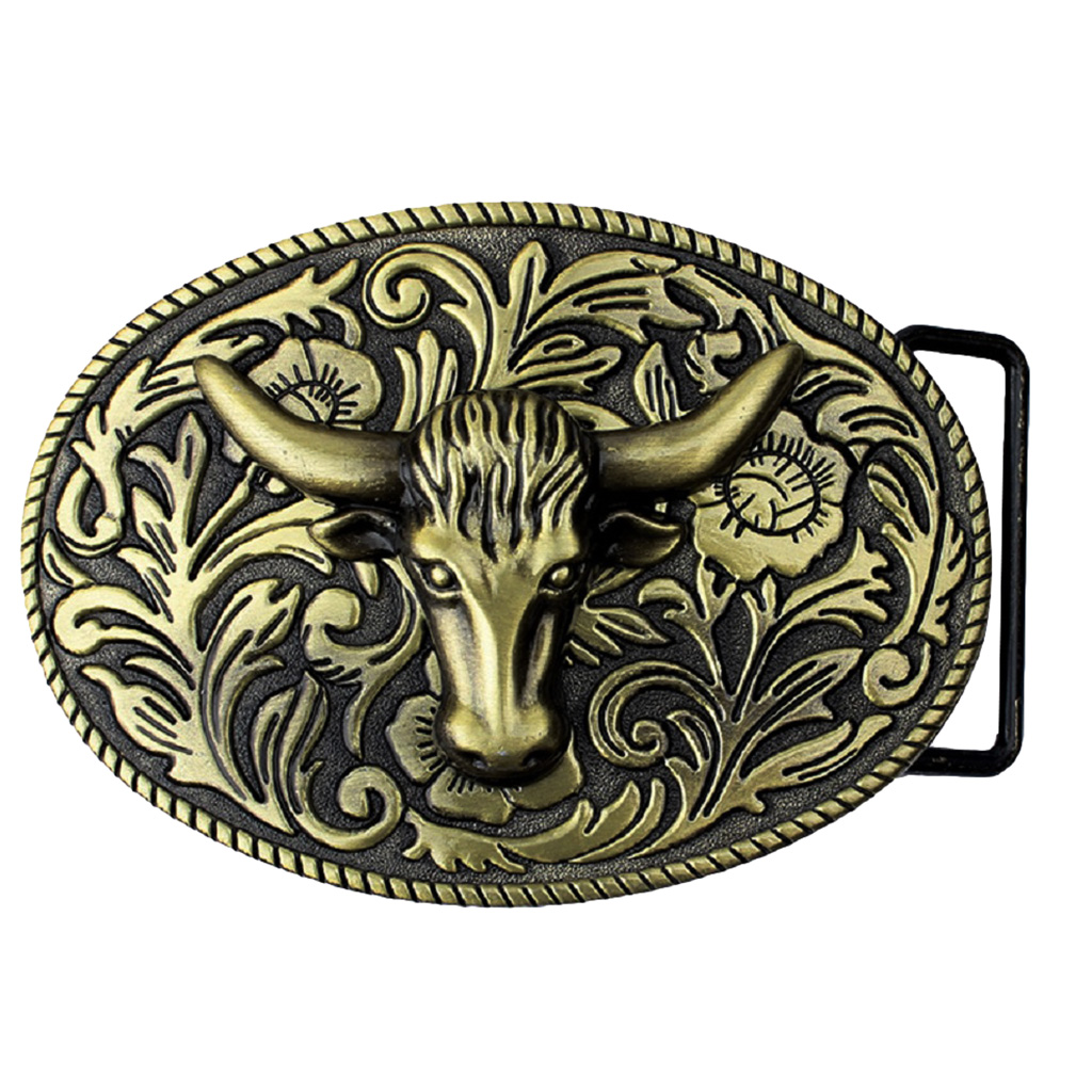 Arabesque Cow Bull Vintage Longhorn Buffalo Head Men' S Leather Belt Buckle Metal Cowboy 9.0 X 7.0cm