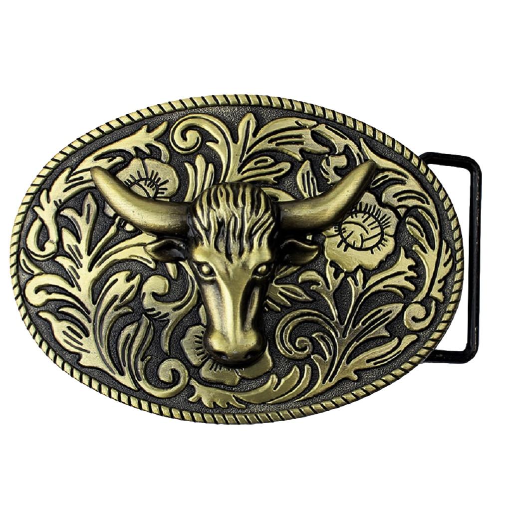 Arabesque Cow Bull Vintage Longhorn Buffalo Head Men' S Leather Belt Buckle Metal Cowboy 9.0 X 7.0cm