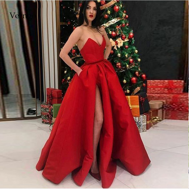 Verngo Red Evening Dress 2019 Elegant Formal Evening Dresses Long Prom Party Ladies Christmas Dress Gown Bepeithy