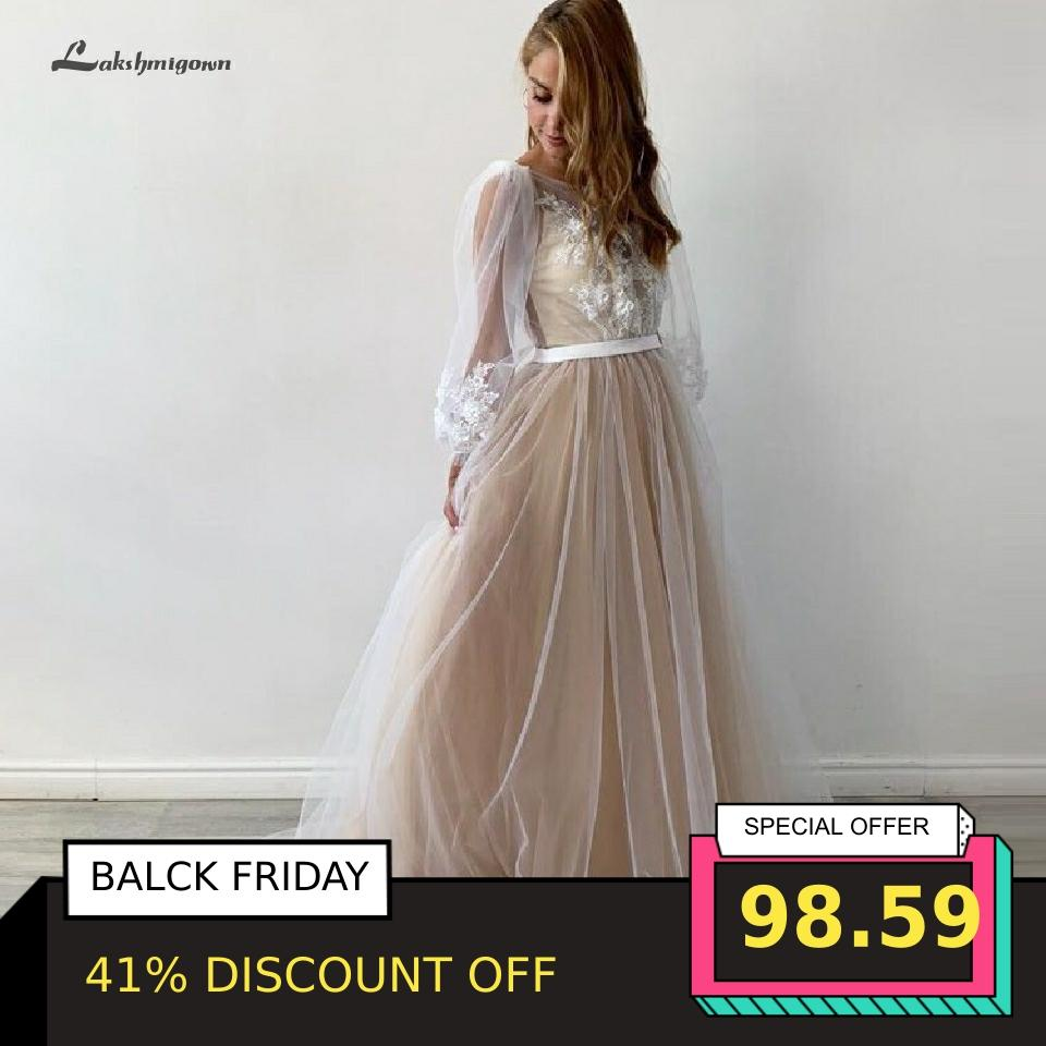 Sexy Bridal Boho Wedding Dress Plus Size Champagne Princess Long Sleeve Wedding Gowns 2020 Hochzeit Open Back Robe Mariage