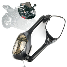 For Suzuki GSXR 600 750 1000 2005 2006 2007 2008 2009-10 K6 K7 K8 Motorcycle Rearview Side Mirrors LED Turn Signal Light Mirror for suzuki gsxr motorcycle rearview side mirrors with turn signal light mirror for suzuki gsr750 tu250x cbr 600rr cbr1000rr