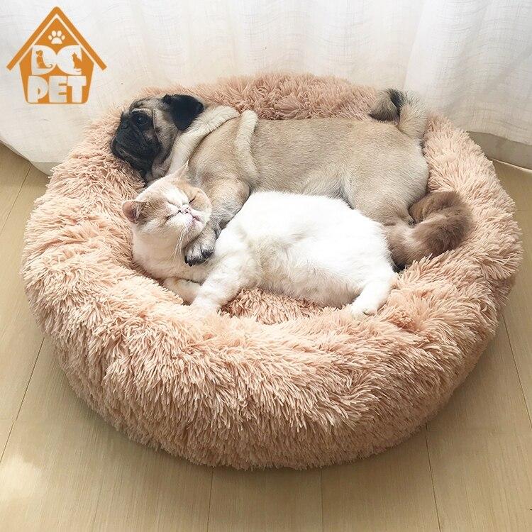 Cama de lana caliente para perros cojín redondo para mascotas pequeño mediano grande perros gato invierno perrera alfombrilla para cachorros cama para mascotas