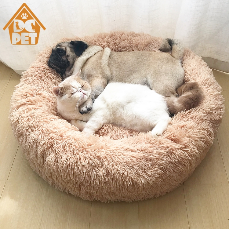 Round Plush Cat Bed House Soft Long Plush Cat Bed Round Pet Dog Bed for Small Dogs Cats Nest Winter Warm Sleeping Bed Puppy Mat,Beige Yellow,50Cm