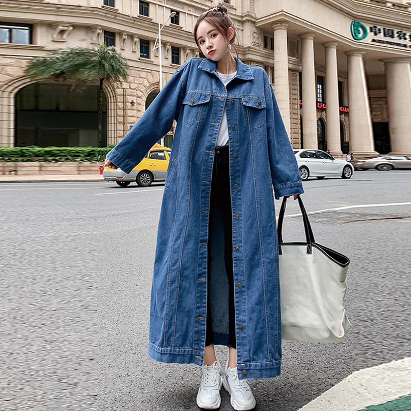 Loose Long Jacket New Spring And Autumn Denim Windbreaker Single-breasted Ankle Length Overcoats Thin Long Denim Jackets