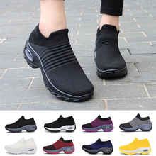 Women Sneakers Platform Shoes 2021 Tennis for Women Breathable Mesh Sock Sneakers Off White Zapatos De Mujer Casual Sneaker35-43
