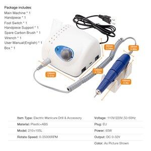Image 5 - 65W 35000RPM elektrikli tırnak matkap makinesi dosya pedikür tımar kiti Salon makinesi hızlı makinesi manikür pedikür seti