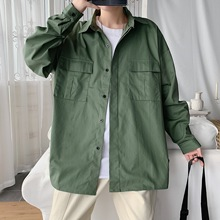 Camisas Vintage para hombre, camisa fina de trabajo de manga larga con varios bolsillos, estilo Safari, novedad de 2020