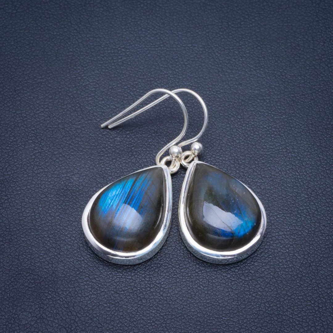Boucles d'oreilles en argent Sterling 925 faites à la main en Labradorite de feu bleu naturel 1.5
