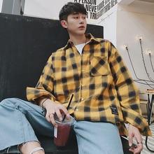Spring Long Sleeve Shirts Men Hip Hop Patterned Casual Plaid Shirt Korean Fashion Plus Size Palace Chemise Homme Blouse 6003 patterned blouse miss blumarine patterned blouse