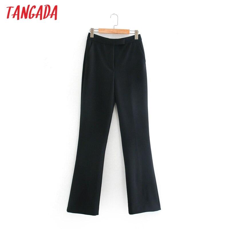 Moda de mujer Tangada de cintura alta, traje de pierna ancha, pantalones con botones, pantalones de oficina para mujer, 2XN30