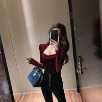 2021 neue Frauen Einfarbig Stilvolle Blusen Vintage Retro Weiche Chic Velour Slim frauen Grundlegende Lange Sleeves Beliebten Shirts y56