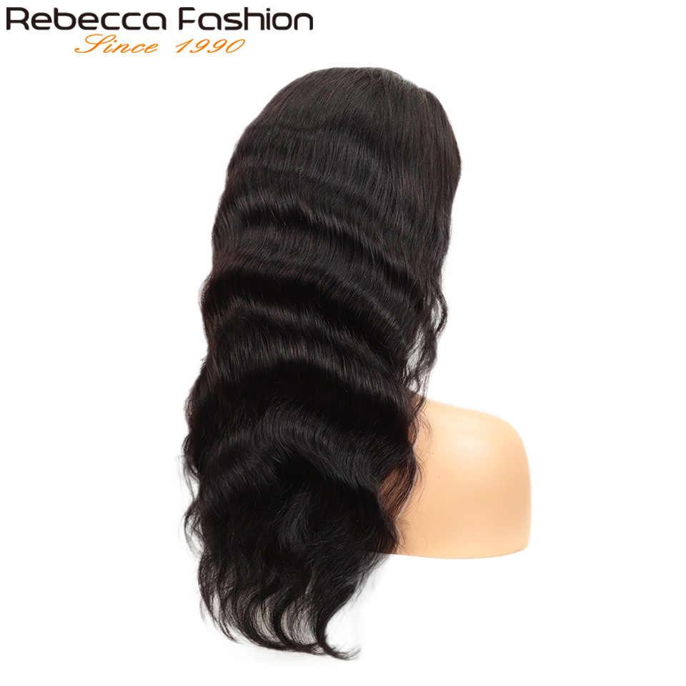 Rebecca vague de corps dentelle avant perruque de cheveux humains avec des cheveux de bébé 180% densité brésilienne 13x4 vague de corps dentelle frontale perruque pour femme Remy