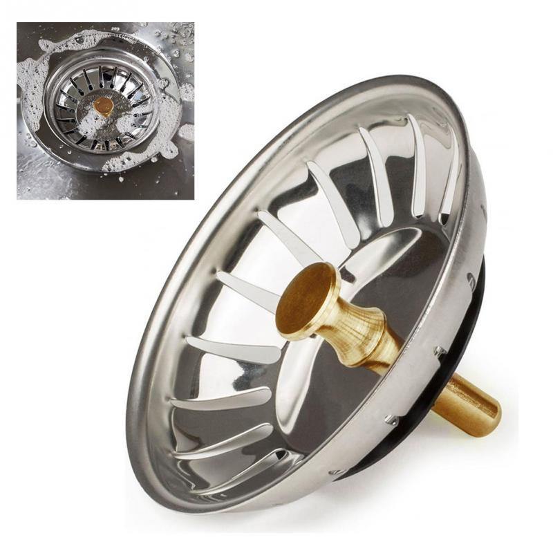 Stainless Steel Waste Plug Sink Filter Hair Catcher Drains Kitchen Sink Strainer Stopper Bathroom Gadgets Kitchen Accessories