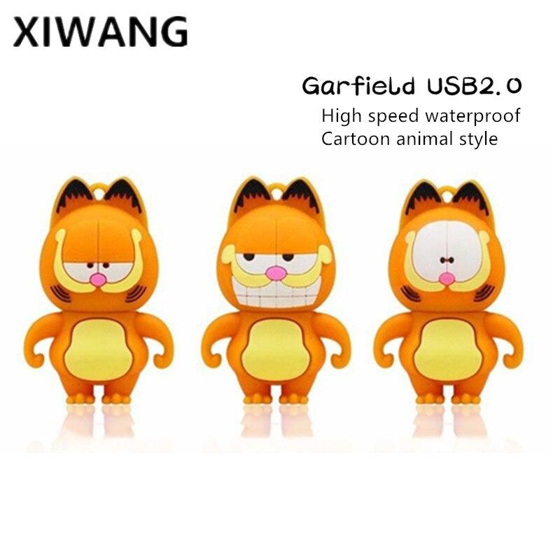 New Usb 2.0 Cartoon Garfield USB Flash Drive 128gb 4GB 8GB Pendrive 16GB Pen Drive 32GB 64GB Mini USB Memory Stick Free Shipping