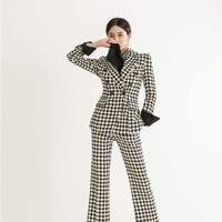 Pants Suits Elegant Woman Winter Suit for Women New Tailored Commuter Blazer Professional Plaid Suit Woman Two piece