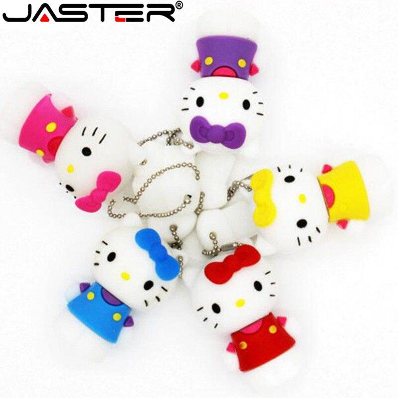 JASTER Cartoon Cat Usb Flash Drive 64gb Pen Drive 32gb Pendrive 4gb 8gb 16gb Cartoon U Disk Flash Card Kitty Memory Stick Gift