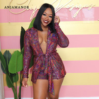 ANJAMANOR Sparkly Sequin Women 2 Piece Set Winter Long Sleeve Blazer and Short Pants Matching Sets Sexy Club Outfits D52 BZ63