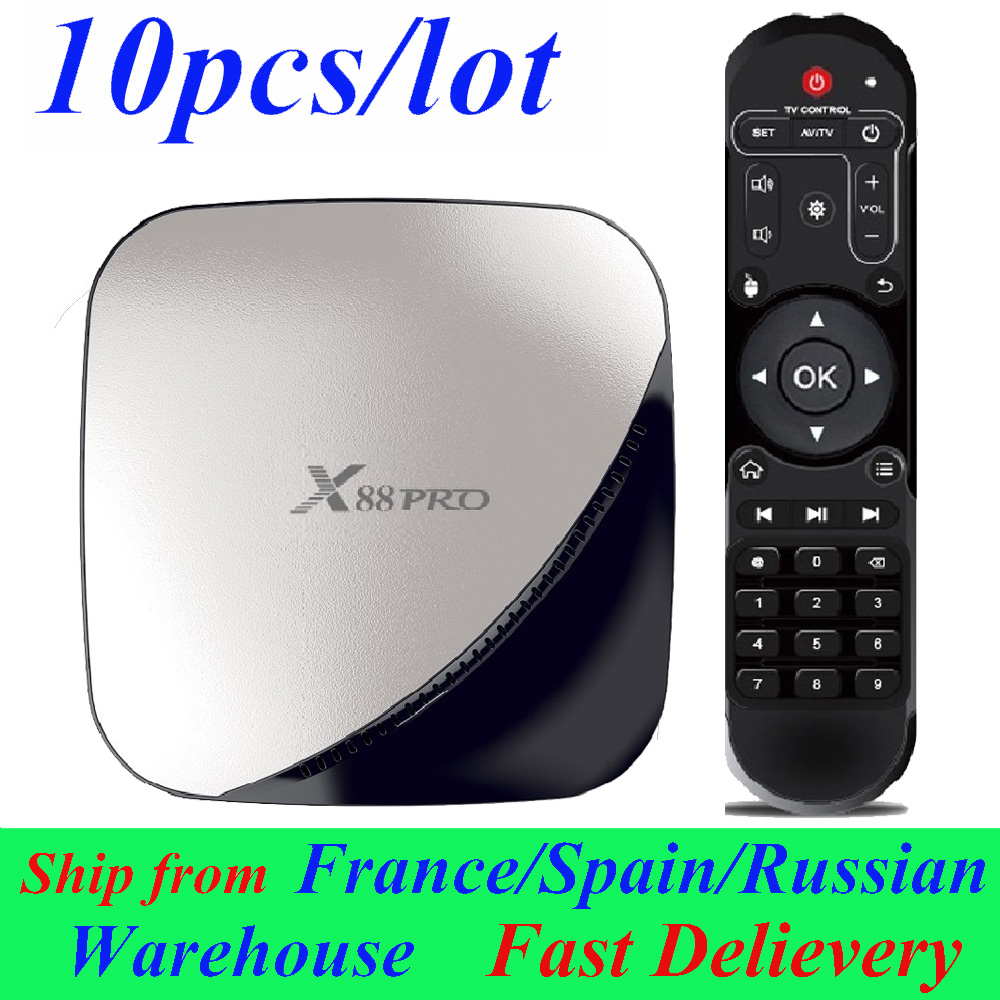 10pcs/lot X88 Pro Android TV Box Smart Box Android 9.0 TV BOX 2GB/16GB 4GB/32GB 4GB/64GB 4G/128G RK3318 Set Top Box Media Player