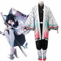 Anime Demone Slayer Kimetsu no Yaiba Kochou Shinobu Cosplay del Costume Delle Donne Delle Uniformi Kimono Halloween Carnaval Del Partito Del costume Parrucca