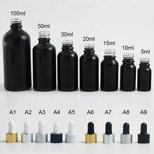 20 X shinny Black Glass Empty Essential Oil Parfum e Liquid Pipette Dropper Bottle 10 15 20 30 50 100 ml gold black silver cap