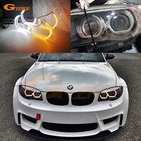 For BMW 1 Series E82 E88 E87 E81 Xenon HD Excellent DTM M4 Style LED Angel Eyes White Amber switchback DRL turn signal light