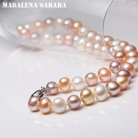 MADALENA SARARA 8 9mm AAA' Freshwater Pearl Natural Multicolor Fine Luster Round Shape for DIY Jewelry 18 Women Neclace