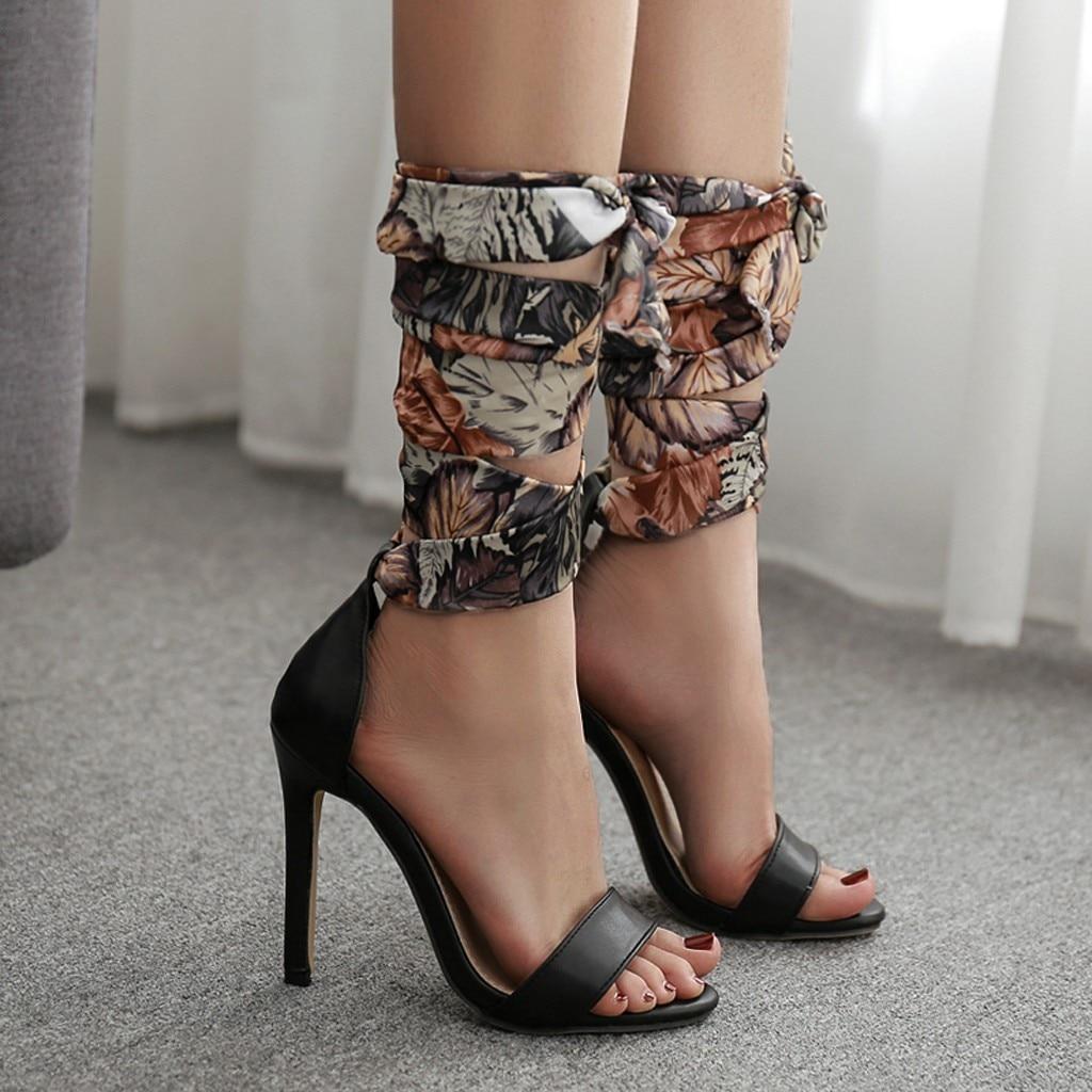 Dames bateau chaussures en plein air Sport chaussures femmes été décontracté Colorblock croix soie sangle sandales talons hauts chaussures Sandale #525 - 4
