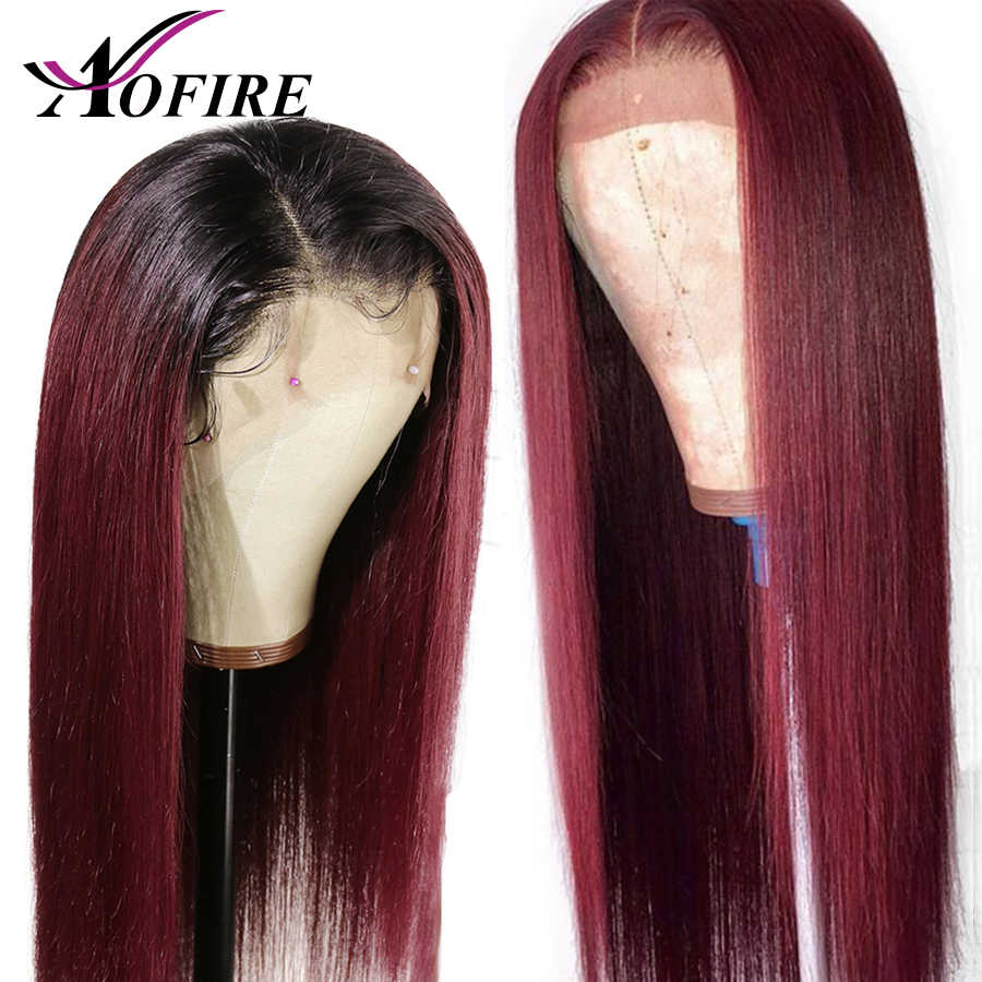 1B 99J Dark Red Colored Wig Lace Front Human Hair Wigs Straight Peruvian Remy Hair 99J Ombre Burgundy With Baby Hair For Women