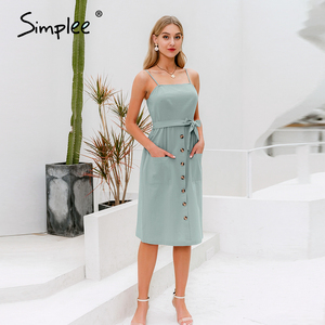 Image 2 - Simplee Elegant ปุ่มผู้หญิงชุดกระเป๋า Polka Dots สีเหลือง MIDI ฤดูร้อนชุดลำลองหญิง PLUS ขนาด Lady Beach vestidos