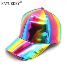 2020 Rainbow Baseball Cap For Women Men Patent-Leather Hip-Hop Trucker Back to the Future Adjustable Hat