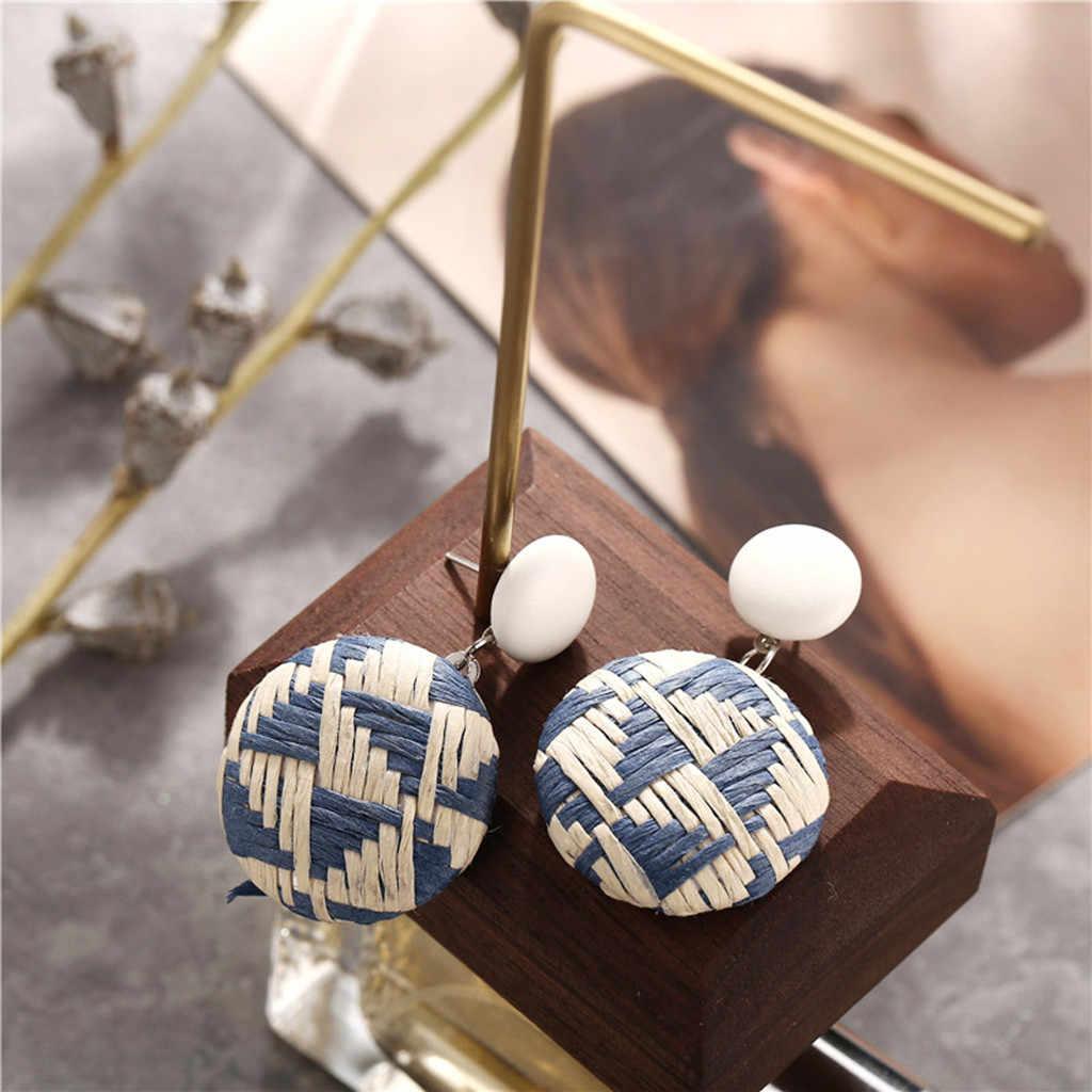 Feito à mão grandes brincos boêmio madeira bambu rattan geométrica brincos redondos das senhoras jóias étnico pingente azul presentes praia festa