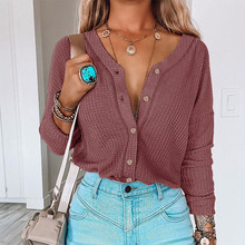 Women's knitted waffle button shirts round collar long sleeve tops loose for women office ladies casual top autumn winter 2021