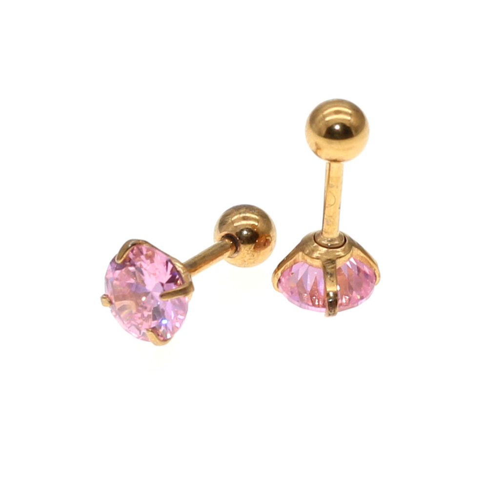 Needle 1.2*6MM Stainless Steel Screw-back Pink Zircon Stud Earrings Golden IP Plating No easy Fade Allergy Free