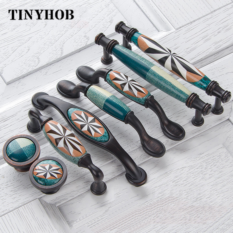 Ceramic Door Handles European Antique Furniture Handles Drawer Pulls Kitchen Cabinet Knobs and Handles